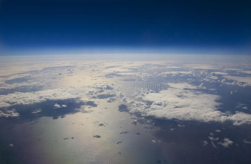 High altitude view of the Earth in space. stock photos