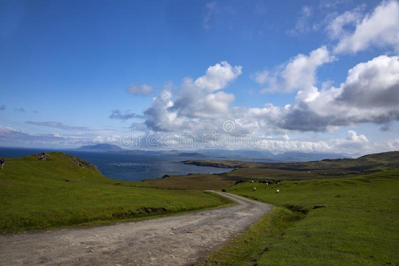 High ange shot of a road in the valley in Clare Island of County Mayo in Ireland royalty free stock photos