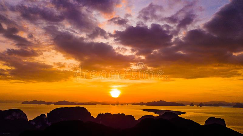 High angle  Aerial photo of  landscape sunset and  Mountain in Krabi Thailand.  royalty free stock images