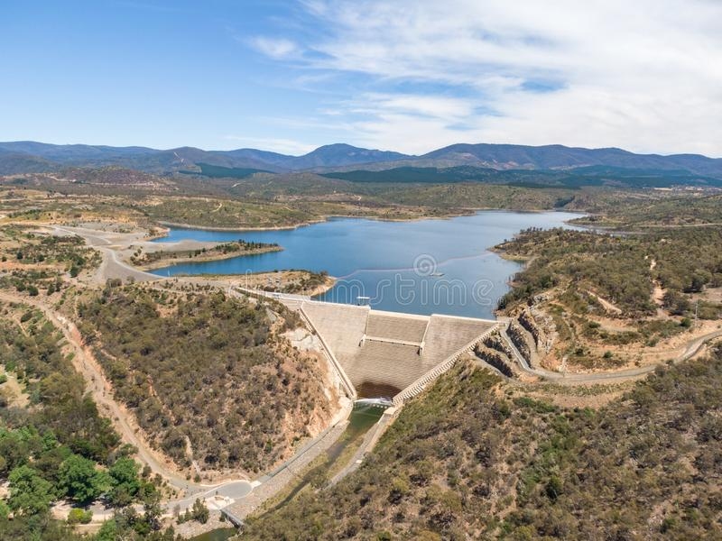 High angle aerial view of Cotter Dam and Cotter reservoir, a supply source of potable water for the city of Canberra. In the Australian Capital Territory stock image