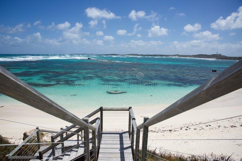 High Angle Boardwalk Ocean View stock photo
