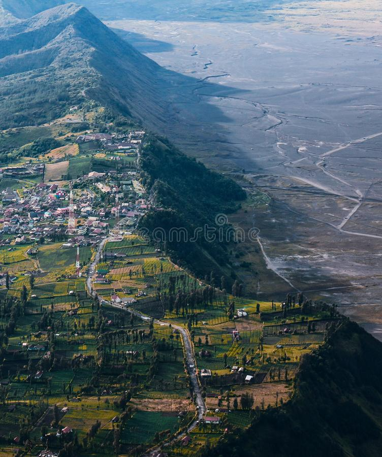 High angle of Cemoro Lawang Bromo. This photo was taken from Seruni point bromo Mountain Indonesia royalty free stock photo