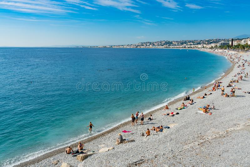 High angle morning view of the famous Angel's Bay with people swimming, Nice stock image
