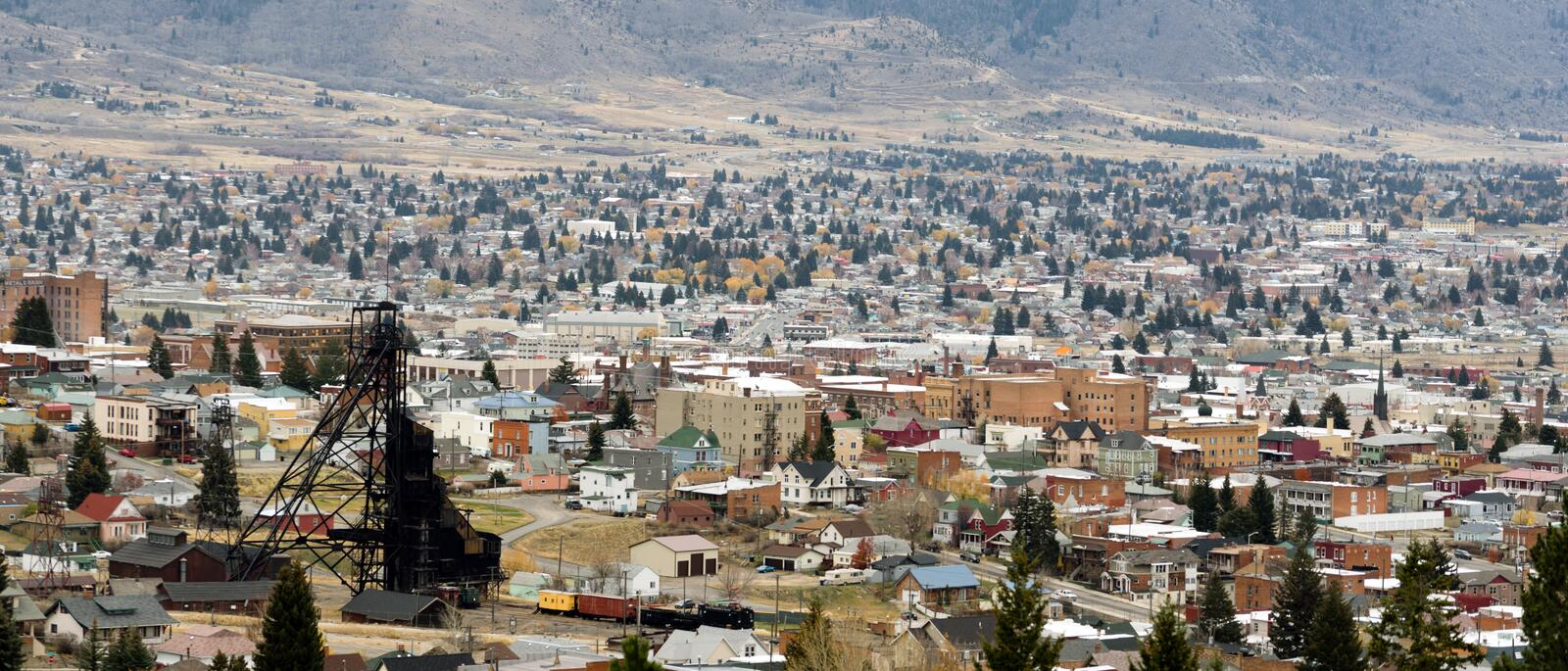 High Angle Overlook Butte Montana Downtown USA United States. Downtown Butte Montana with winter setting in stock image
