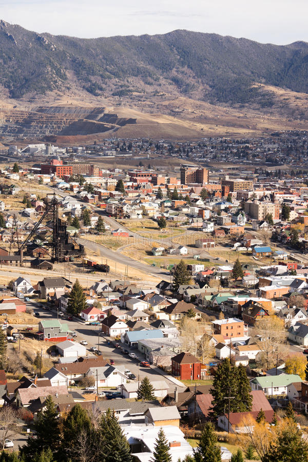 High Angle Overlook Walkerville Montana Downtown USA United States. Downtown Butte Montana with winter setting in royalty free stock image
