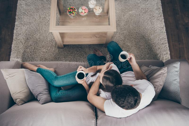 High angle photo of adorable pair in love holding hot beverage hands overjoyed sitting sofa indoors stock photography