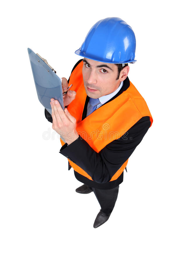 Download High Angle Shot Of Architect Stock Image - Image of hardhat, clipboard: 26645957