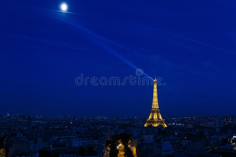 High angle shot of the Eiffel tower in Paris, France at night time. A high angle shot of the Eiffel tower in Paris, France at night time royalty free stock photo