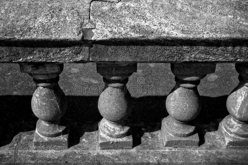High angle shot of an old stone baluster. A high angle shot of an old stone baluster royalty free stock photography