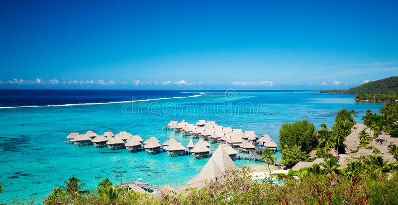 High angle shot of over water bungalows at Moorea. Island stock photos