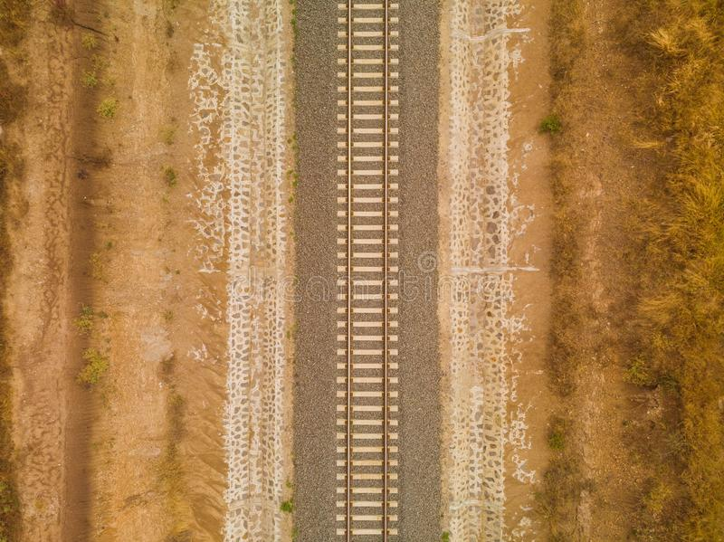 High angle shot of the railway in the middle of the desert captured in Nairobi, Kenya. A high angle shot of the railway in the middle of the desert captured in royalty free stock images