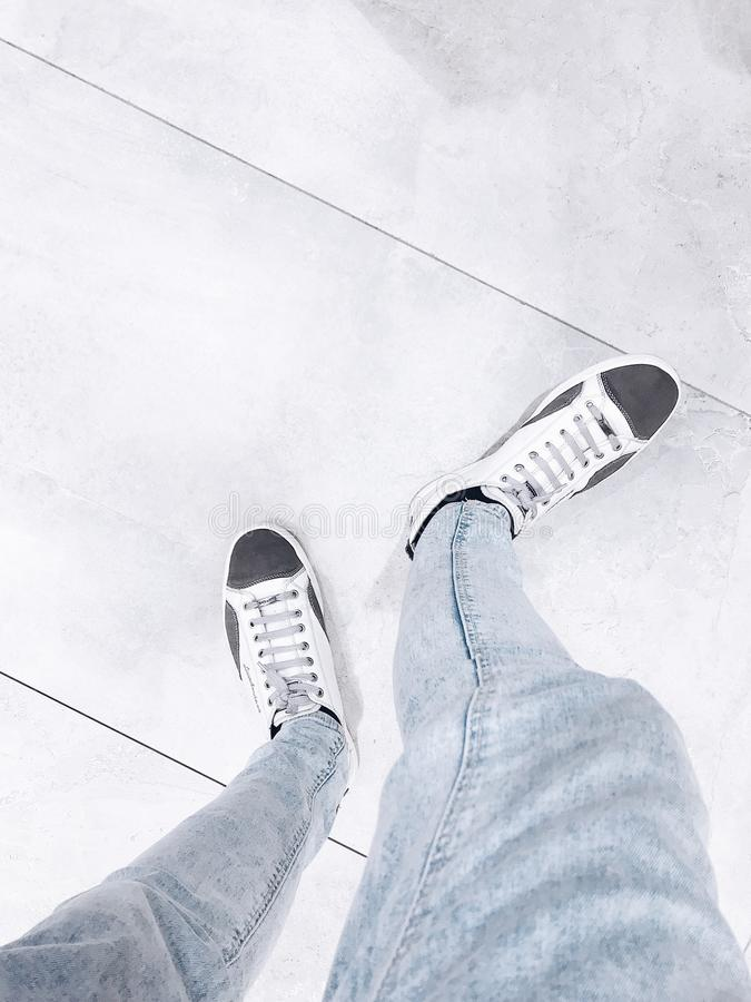 High Angle Shot of Shoes royalty free stock photo