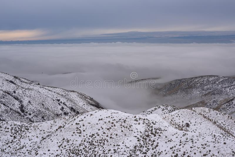 High angle shot of snowy mountains covered in trees above the clouds under a blue sky. A high angle shot of snowy mountains covered in trees above the clouds stock photo
