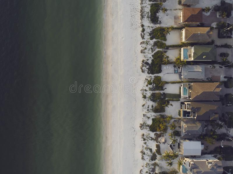 High-angle View of Beach and Houses royalty free stock photo
