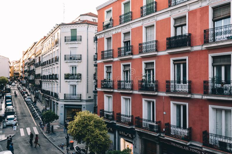 High angle view of buildings in Chueca district in Madrid royalty free stock photo