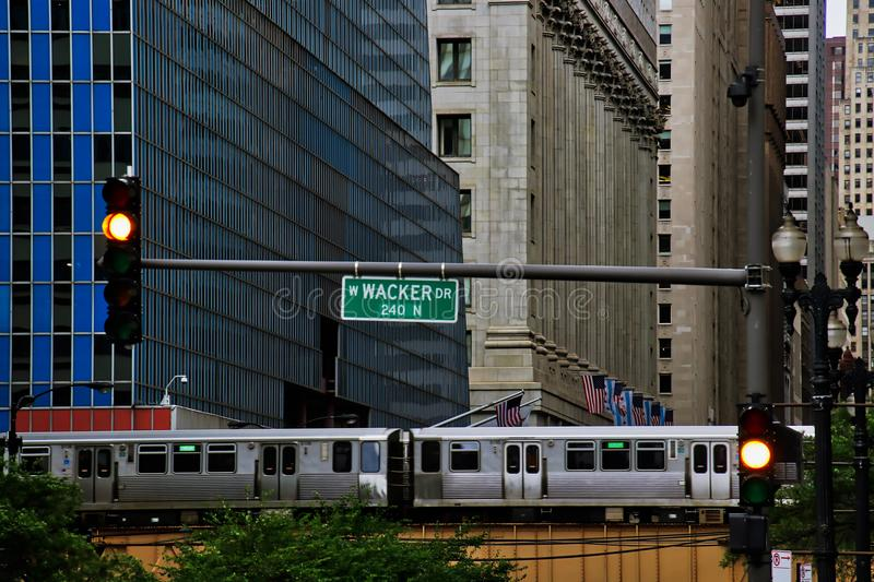 High angle view of Chicago`s elevated green line train and track on Lake and LaSalle Streets in Chicago Loop. High angle view of Chicago`s elevated green line stock photography