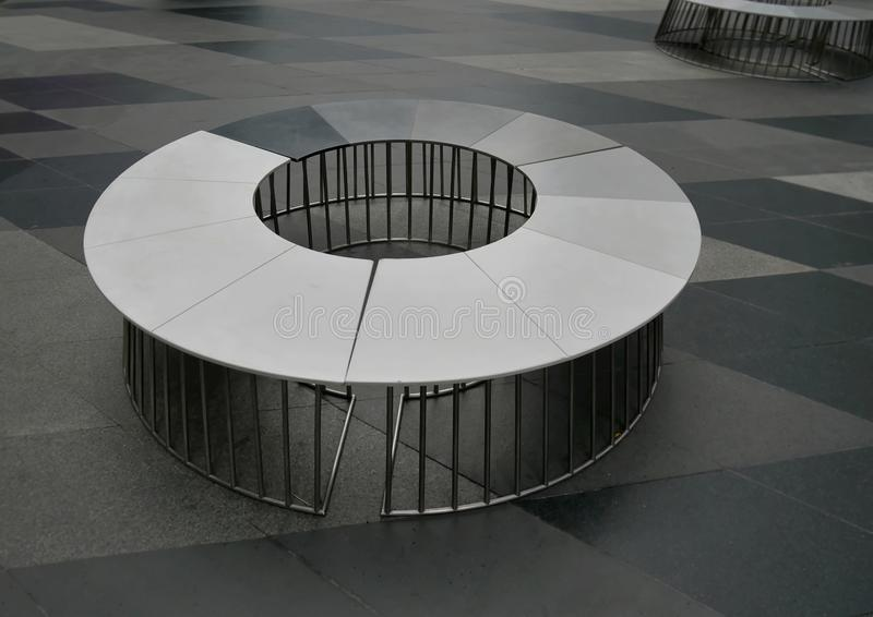 Circular Seat with Welded Steel Tubes Support. High Angle View of Circular Seat with Welded Steel Tubes Support stock photos