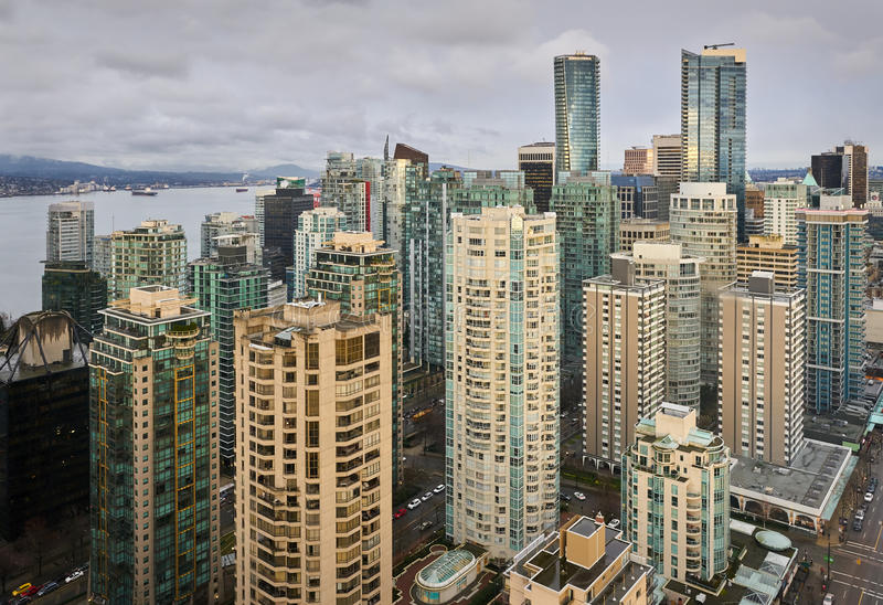 High Angle View Downtown Vancouver stock photo