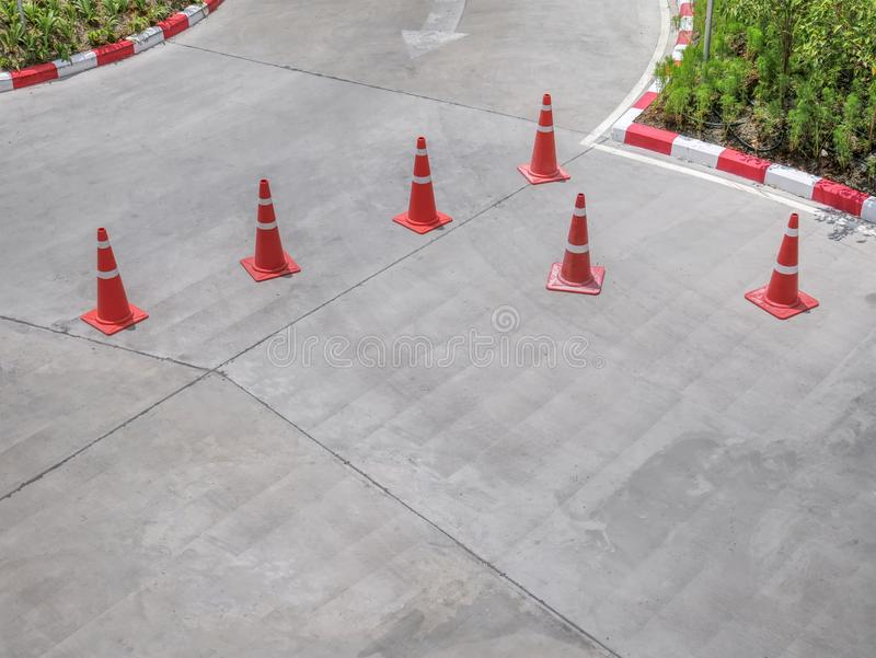 Group of Traffic Cones on the Street. High Angle View of Group of Traffic Cones on the Street royalty free stock photography