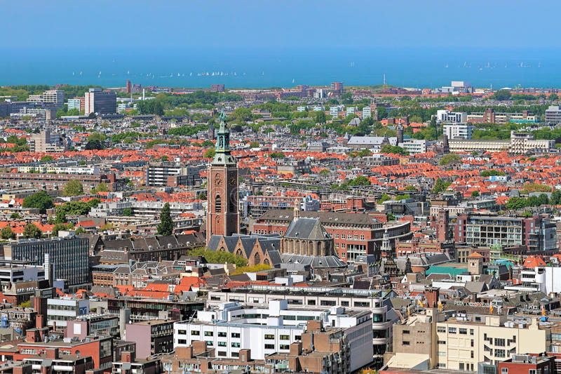 High angle view of The Hague with Grote of Sint-Jacobskerk, Netherlands stock photo