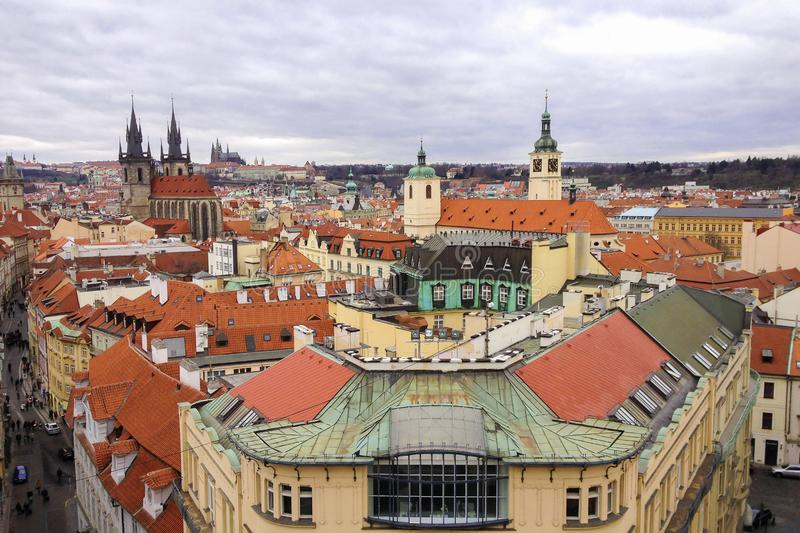 High angle view of historic centre of Prague royalty free stock photos