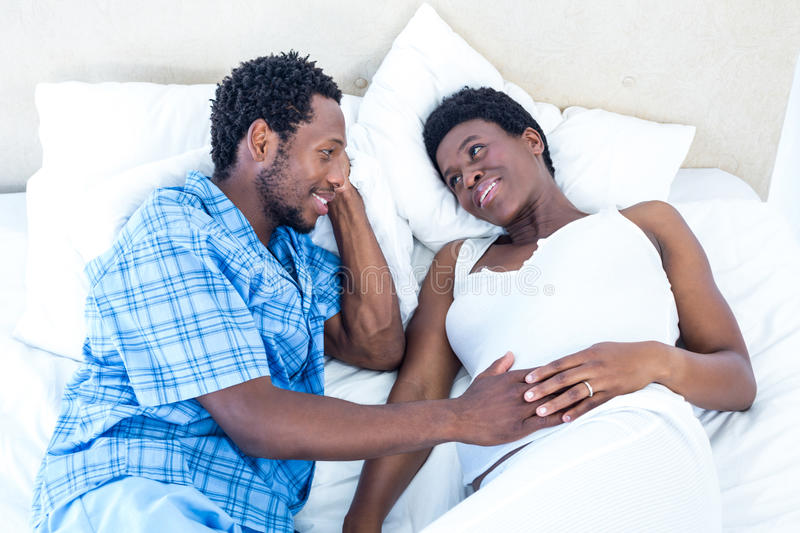 High angle view of husband and wife talking royalty free stock photography