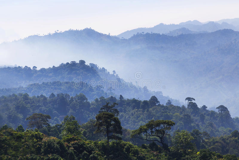 High angle view of layer tropical mountains with white fog. In Thailand stock photo
