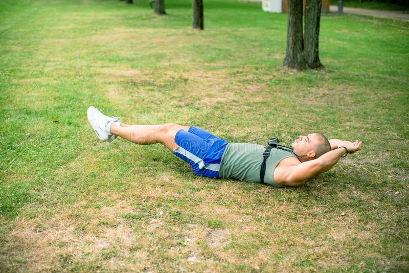 High angle view of man exercising in park royalty free stock image