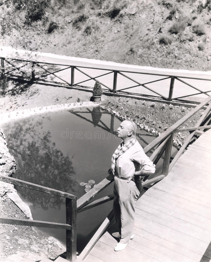High angle view of man standing on bridge overlooking pond stock photo