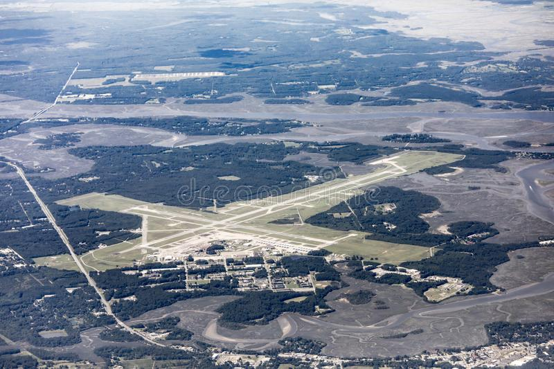 High angle view of the Marine Corp Air Station and runways in Beaufort, South Carolina. Taken from 25,000 feet royalty free stock photos