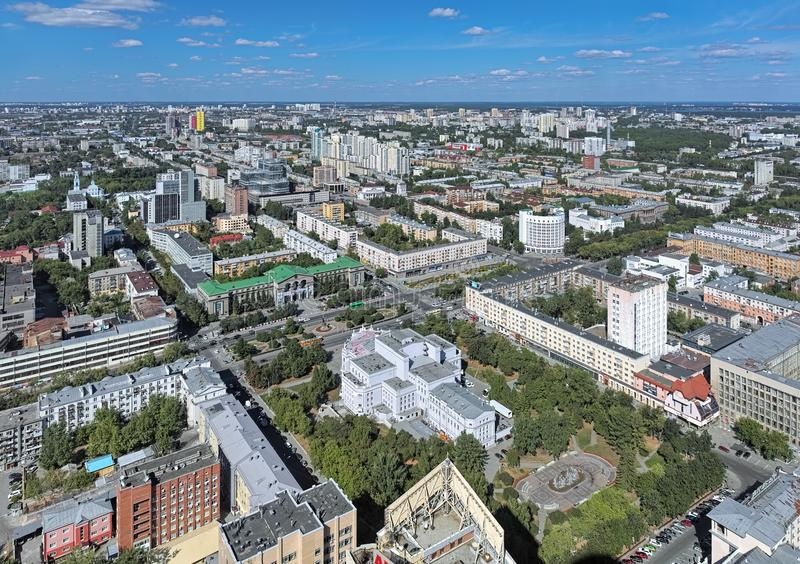 High angle view of the north-eastern side of Yekaterinburg, Russia. Yekaterinburg, Russia. High angle view of the north-eastern side of the city with Lenin stock photos