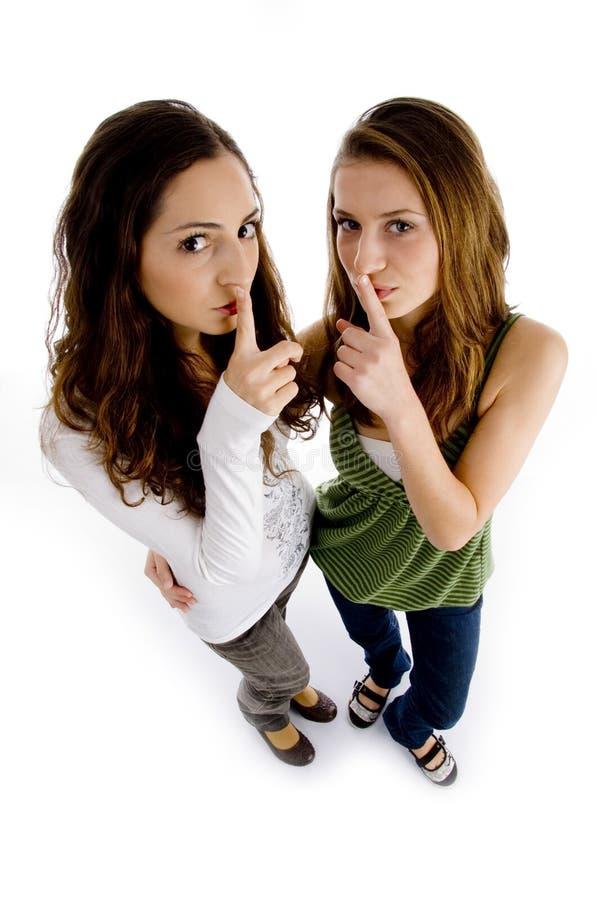 Free High Angle View Of Girls Shushing Royalty Free Stock Image - 7418296