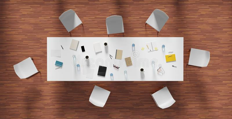 High angle view of the office room, 3d render. Illustration vector illustration