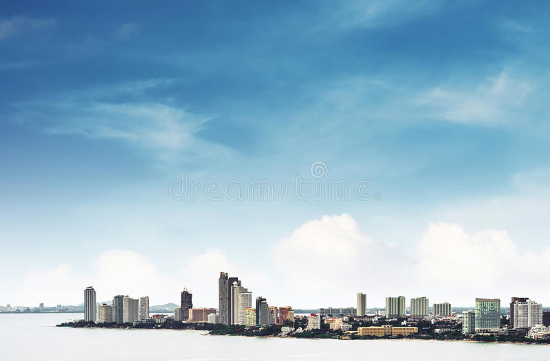 High angle view over Pattaya city with clear blue sky, landmark in east city of Thailand stock photos