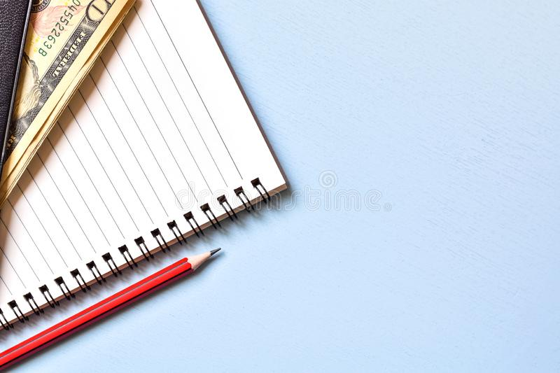 High angle view, Pencil on wooden table with copy space, Ideas business notes. stock photos