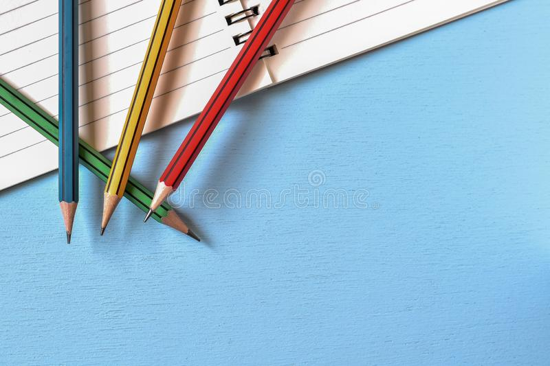 High angle view, Pencil on wooden table with copy space, Ideas business notes. stock images