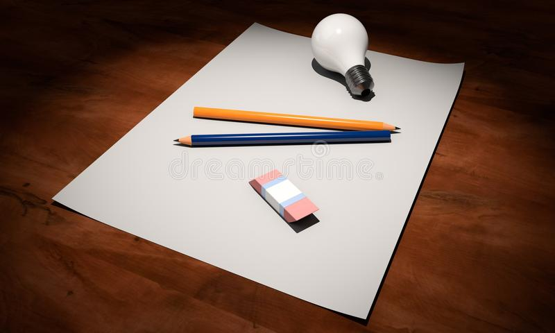 High Angle View of Pencils on Table stock photography