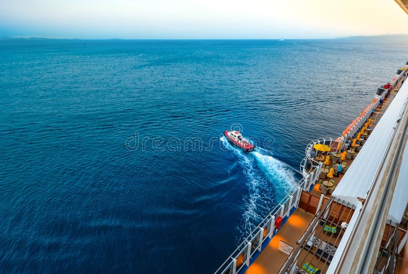 High Angle View of People Sailing on Sea stock photo