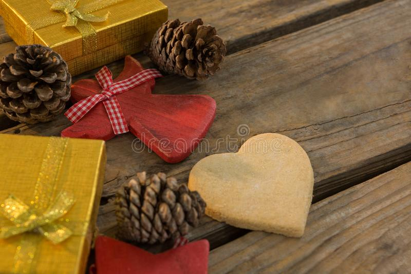 High angle view of pine cones with gift boxes royalty free stock image