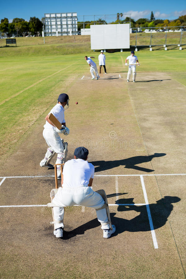 High angle view of players at cricket match royalty free stock photos