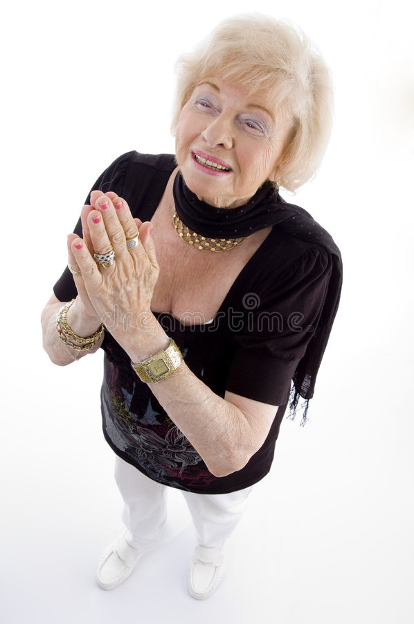 Download High Angle View Of Praying Old Woman Stock Photo - Image: 7139286