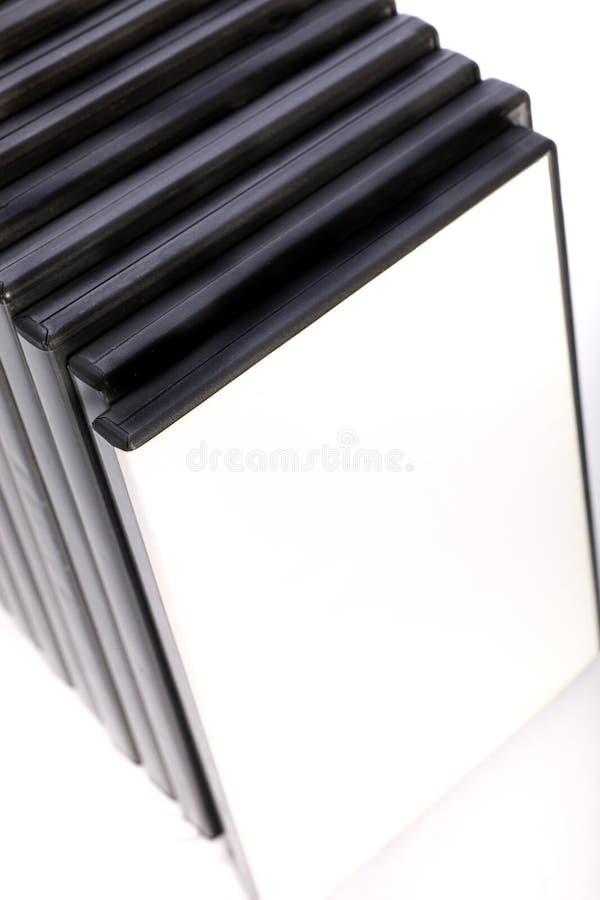Row of DVD storage cases stock photo