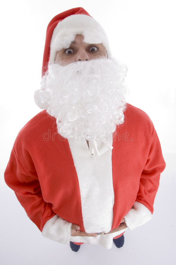 High angle view of santa clause. Against white background royalty free stock images
