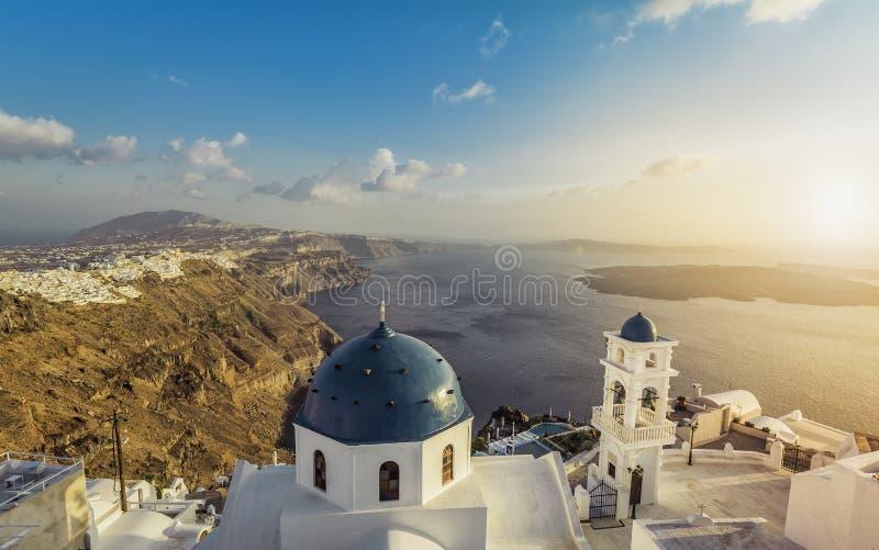 High angle view of Santorini blue dome churches. Greece. Light Leaks stock photo