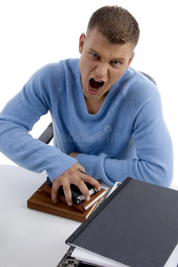 High Angle View Of Shouting Man Royalty Free Stock Photos