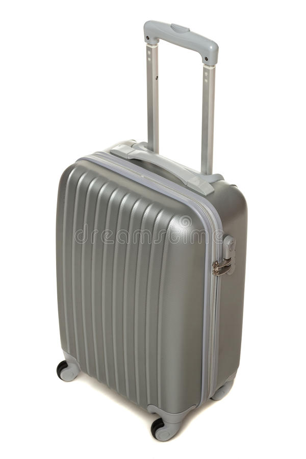 High Angle View Of Silver Travel Suitcase Stock Images