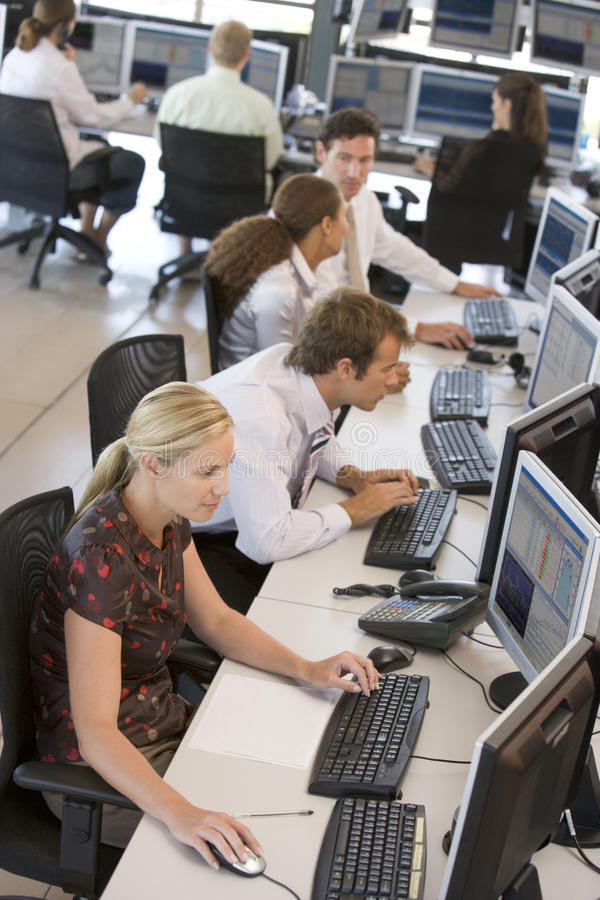 Download High Angle View Of Stock Traders At Work Stock Image - Image: 10400247