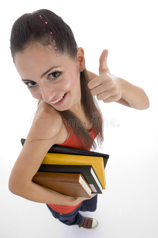 High Angle View Of Student Showing Good Luck Sign Royalty Free Stock Photo
