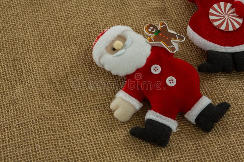High angle view of stuffed santa claus stock images