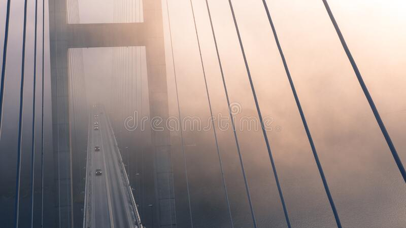 High Angle View of Suspension Bridge Against Sky stock photography